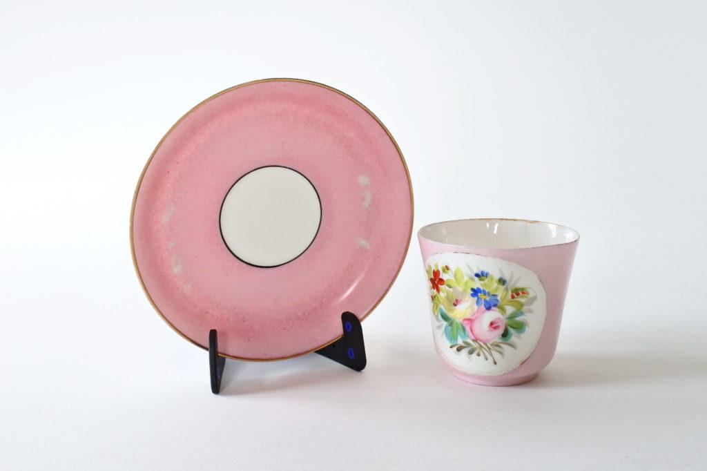 Tazzina antica da caffè in porcellana Vecchia Parigi con fiori - 8
