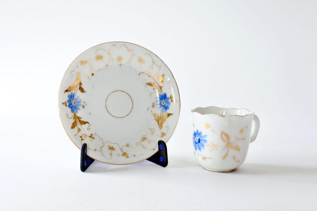 Tazzina antica in porcellana Vecchia Parigi con fiori blu e foglie dorate - 8