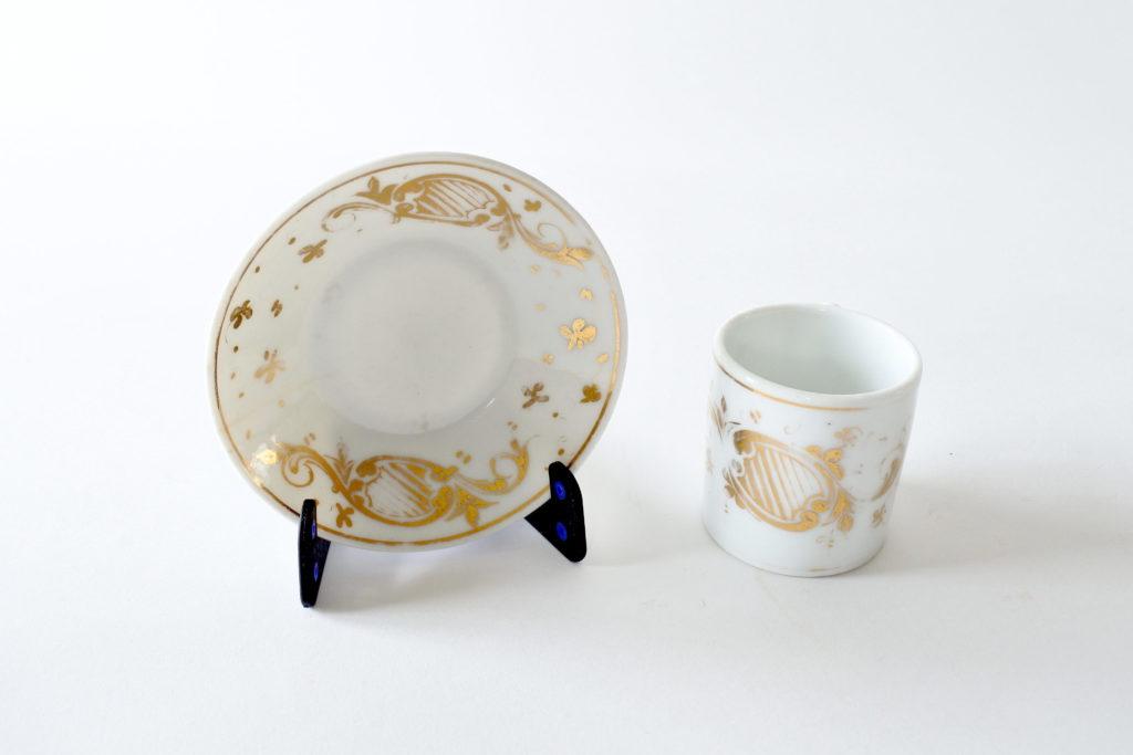 Tazzina antica in porcellana Vecchia Parigi decorata in oro - 8