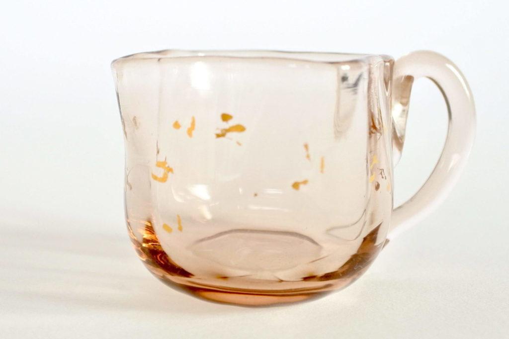 Bicchierino da liquore con manico in vetro soffiato fumè