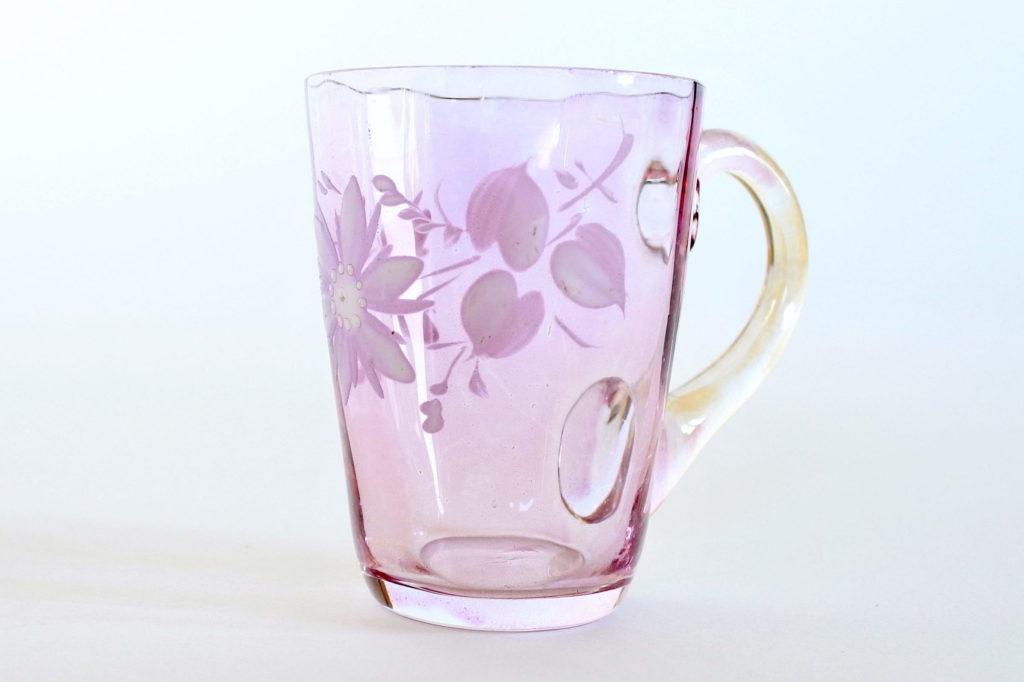 Bicchierino da liquore con manico in vetro soffiato lilla e smalti