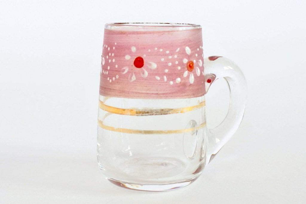 Bicchierino da liquore in vetro soffiato con manico e decoro a smalto