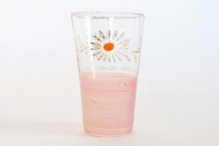 Bicchierino da liquore in vetro soffiato con margherite