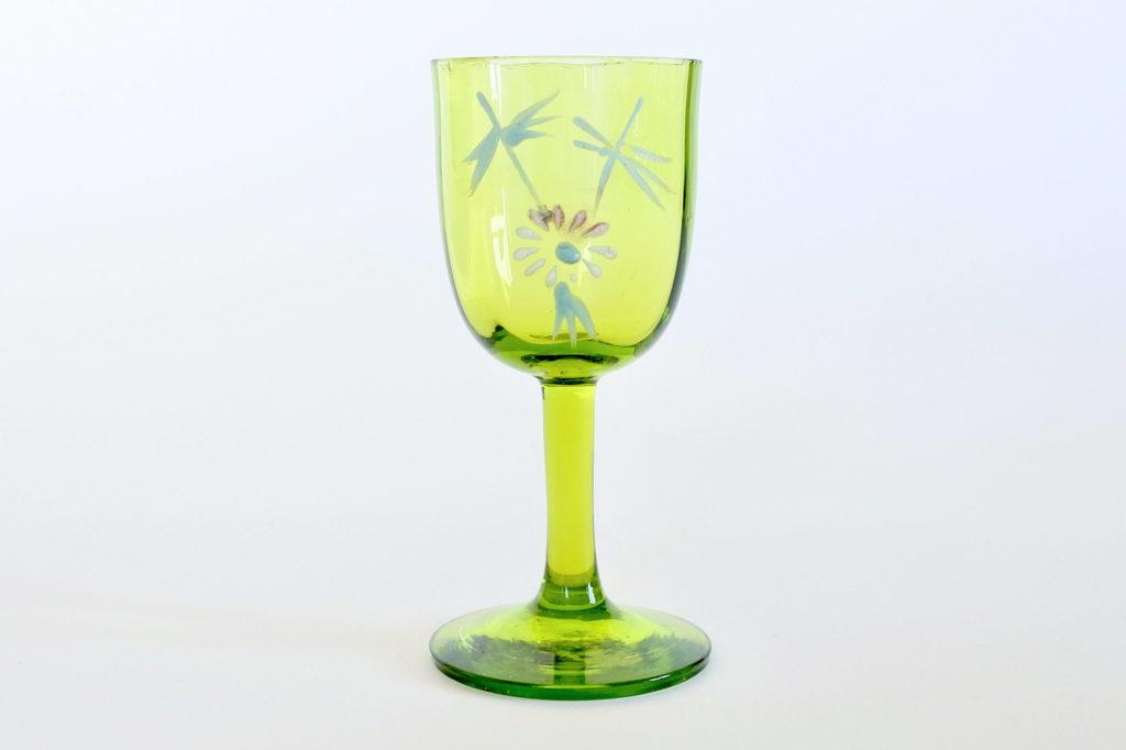 Bicchierino da liquore in vetro soffiato verde con smalti