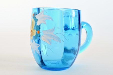 Bicchierino da liquore ottagonale con manico in vetro soffiato blu