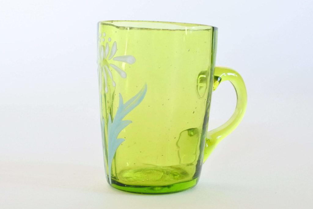 Bicchierino da rosolio in vetro soffiato verde