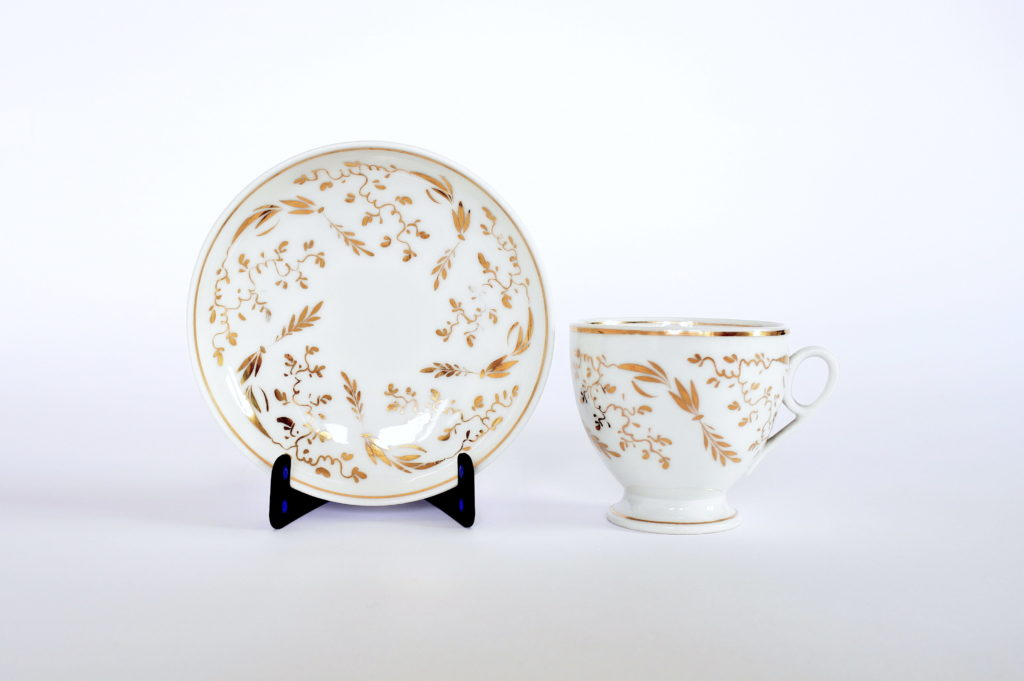Tazzine antiche da caffè in porcellana Vecchia Parigi decorate in oro - 4