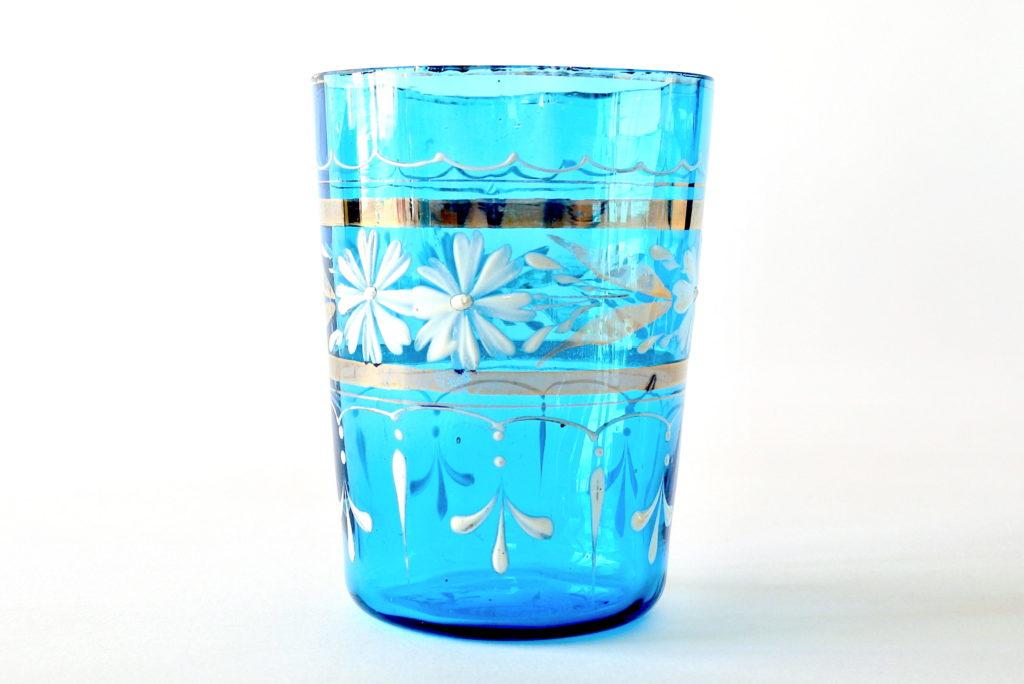 Bicchiere in vetro soffiato blu con fascia in oro