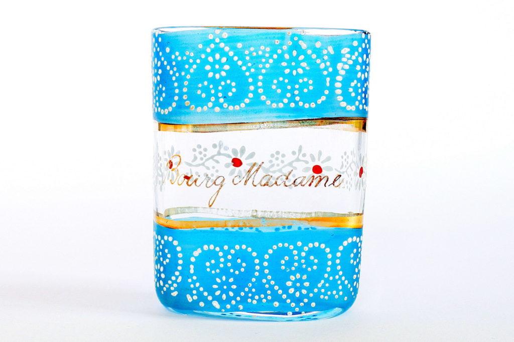 Bicchiere tascabile in vetro soffiato con scritta in oro e decoro a smalto
