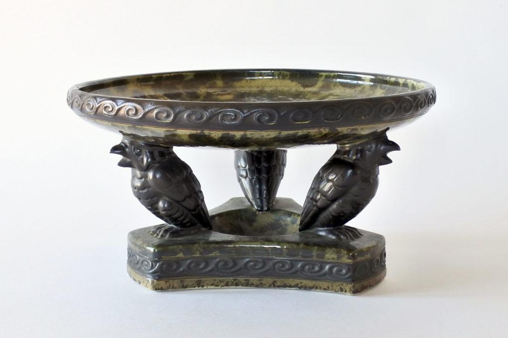 Centrotavola déco in ceramica con effetto marmorizzato con uccellini