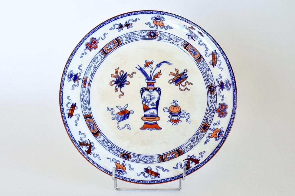 Piatto tondo in porcellana di Minton decorato a cineserie