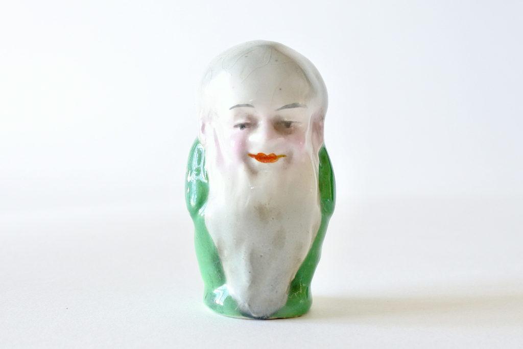 Saliera in ceramica a forma di uomo con barba