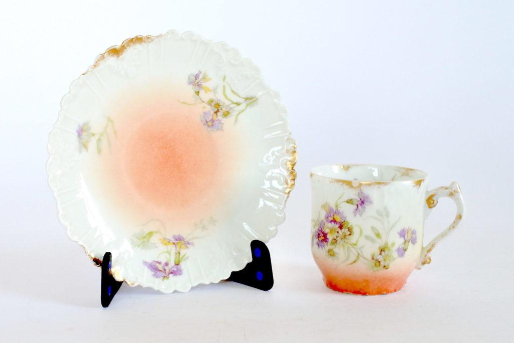 Tazzina e piattino in porcellana decorati con rami di fiori e margherite