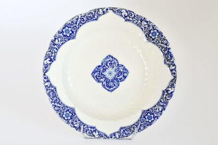 Piatto di servizio tondo in ceramica di Gien con decoro blu