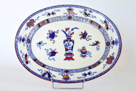 Piatto ovale in porcellana di Minton decorato a cineserie