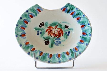 Piatto da barbiere antico in ceramica dipinto a mano