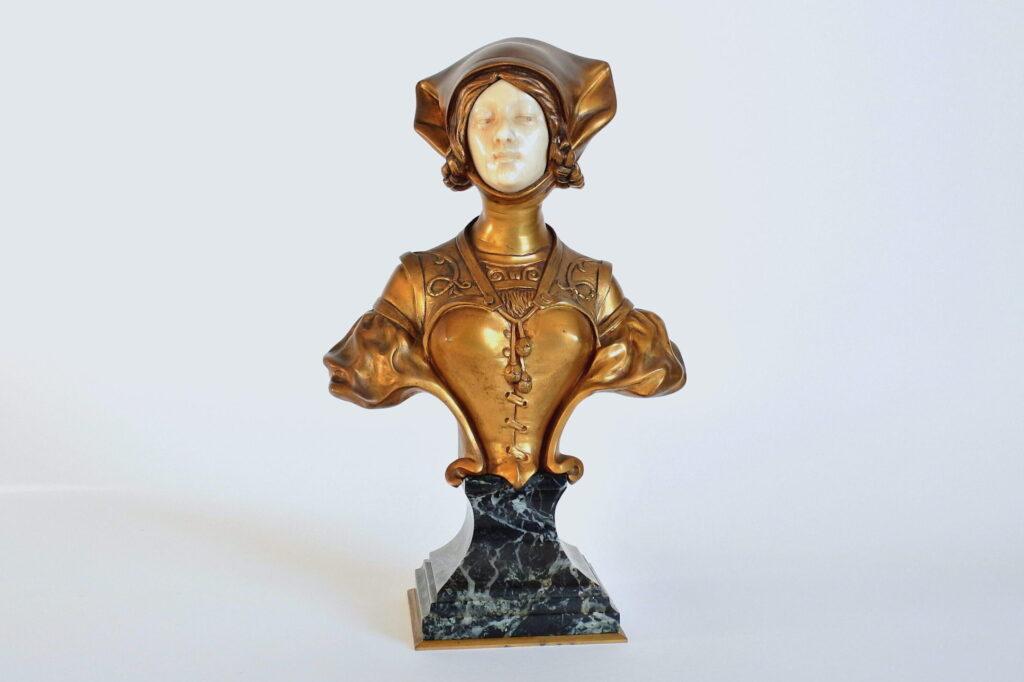 Busto di donna art nouveau in bronzo e avorio - Francois Alphonse Piquemal