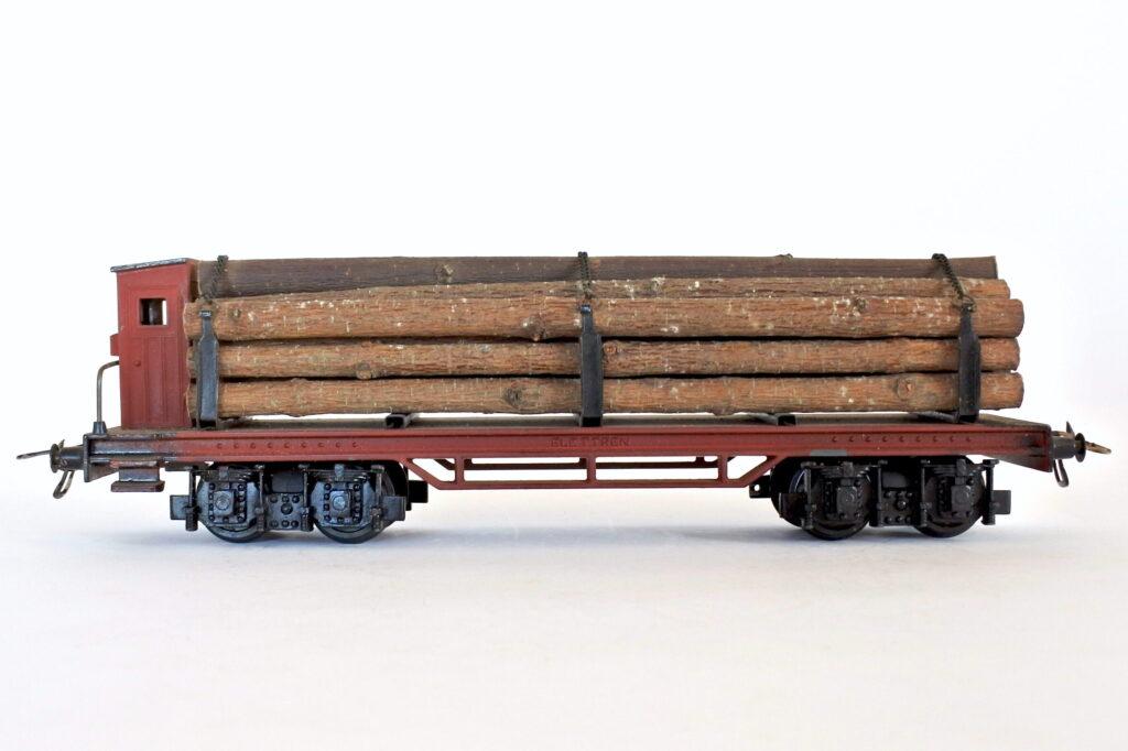 Carro merci Elettren PT 105 scala 0 con garitta e stanti per trasporto legname