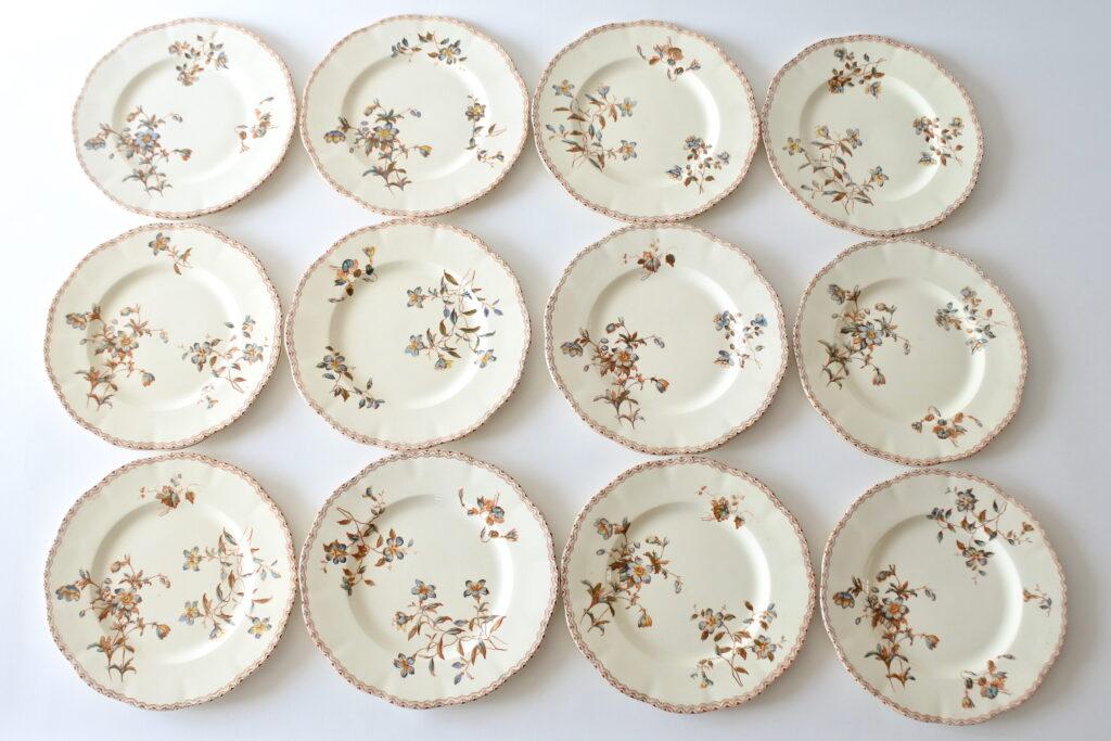 12 piatti in ceramica di Salins con fiori e greca marrone