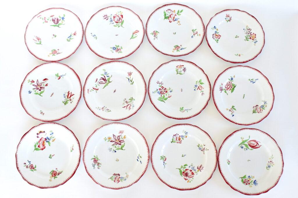 12 piatti in ceramica di Sarreguemines con decoro Strasbourg
