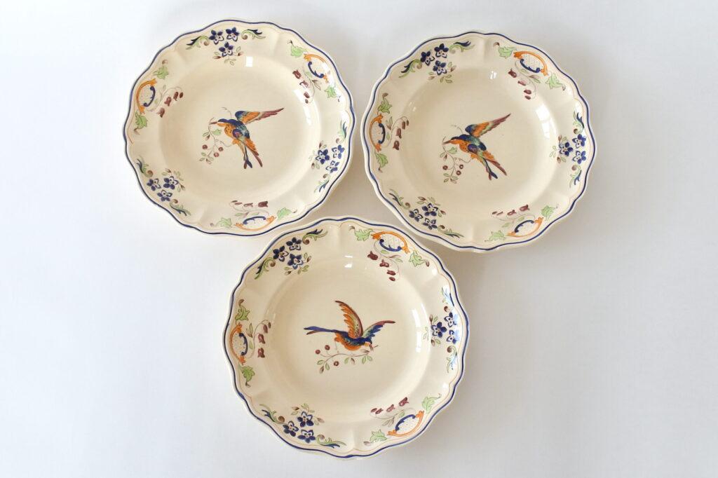 3 piatti in ceramica di Longchamp con uccellino e fiori