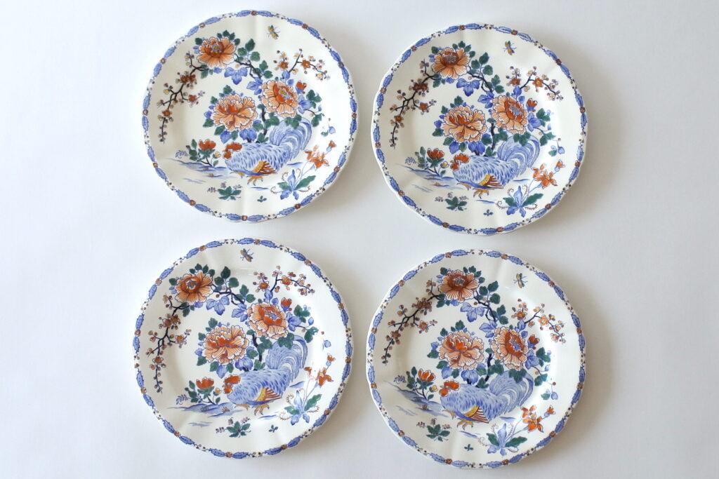 4 piatti piani in ceramica di Gien del 1938 con gallo e fiori