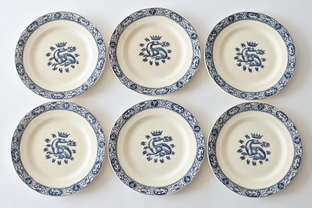 6 piatti da frutta in ceramica di Salins con decoro Francesco I
