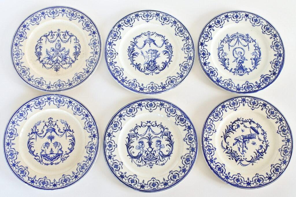 6 piatti in ceramica con angeli di Jules Vieillard a Bordeaux