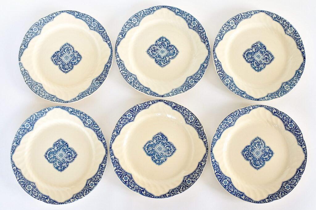 6 piatti in ceramica di Gien del 1876 con bordura blu