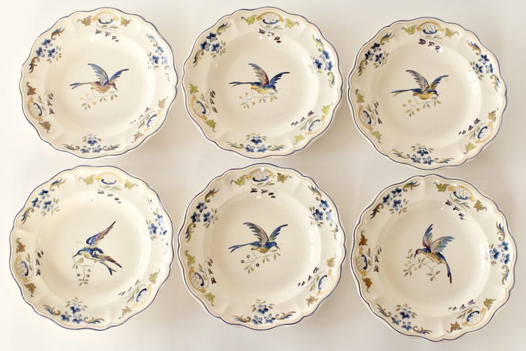 6 piatti in ceramica di Longchamp con uccellino e ramo di fiori