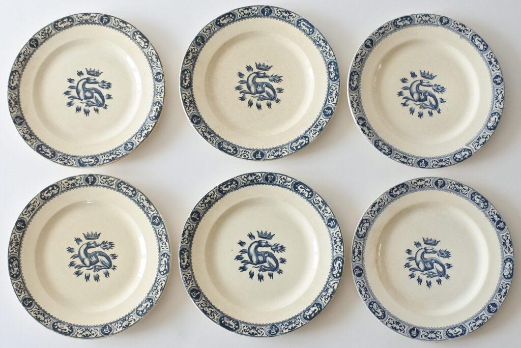 6 piatti piani in ceramica di Salins con decoro Francesco I