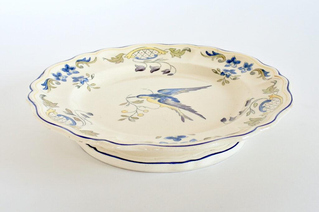 Alzatina in ceramica di Longchamp con uccellino e fiori