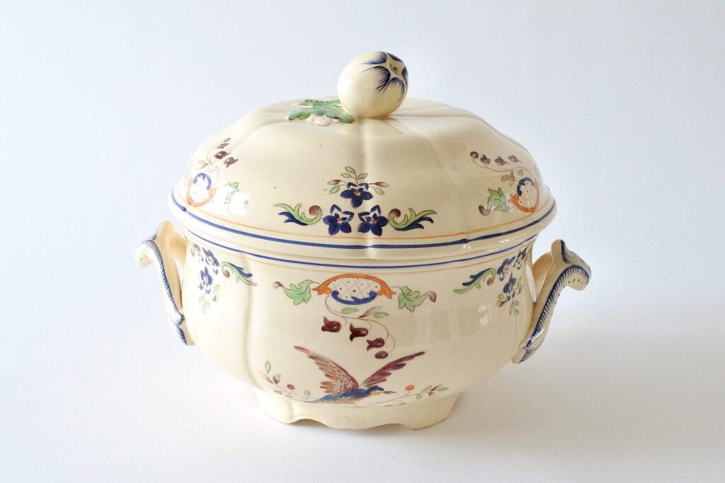 Zuppiera in ceramica di Longchamp con uccellini e fiori - 3