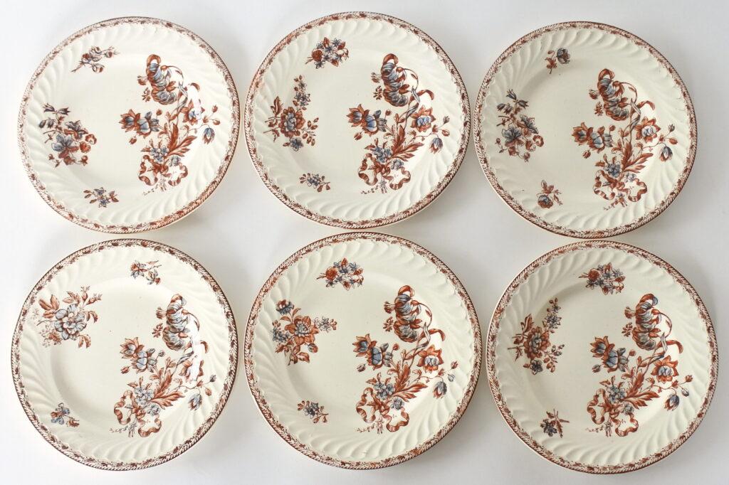 6 piatti da frutta in ceramica di Salins con decoro floreale su fondo avorio
