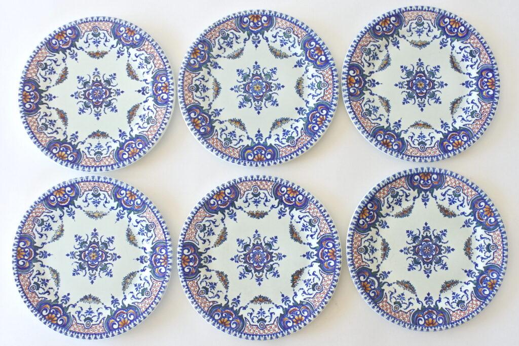 6 piatti da frutta in ceramica di Gien del 1860 con decoro di Rouen