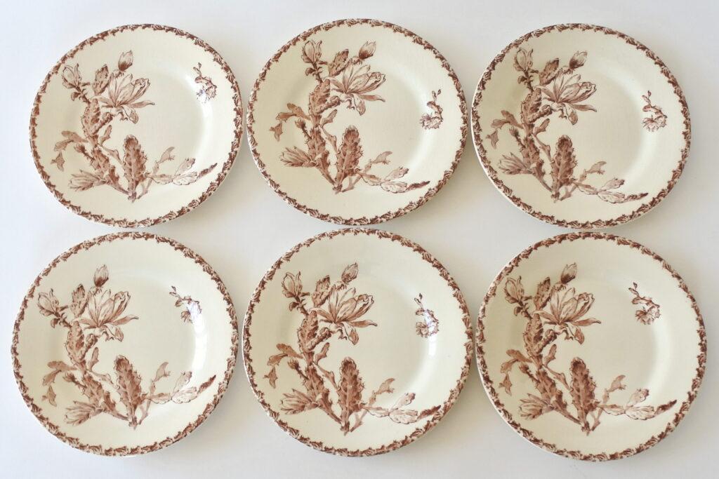 6 piatti da frutta in ceramica di Gien del 1878 con decoro cactus