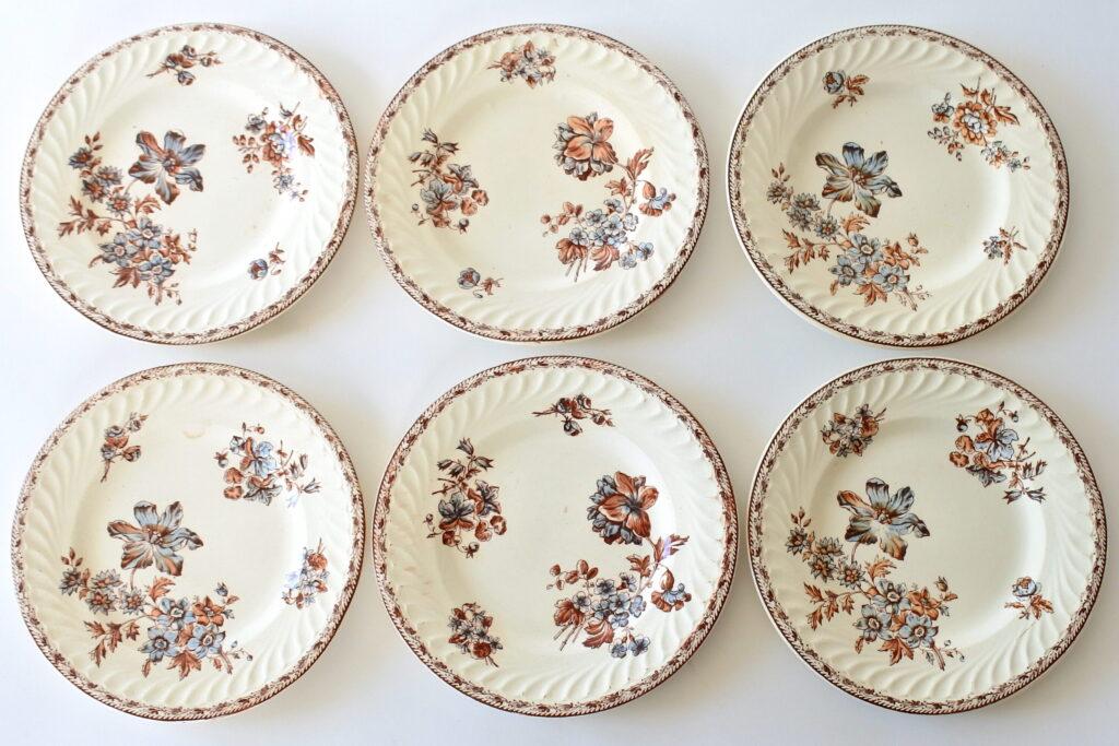 6 piatti da frutta in ceramica di Salins con rami di fiori su fondo avorio