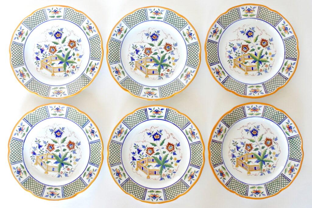 6 piatti da frutta in ceramica di Sarreguemines Montmorency con fiori