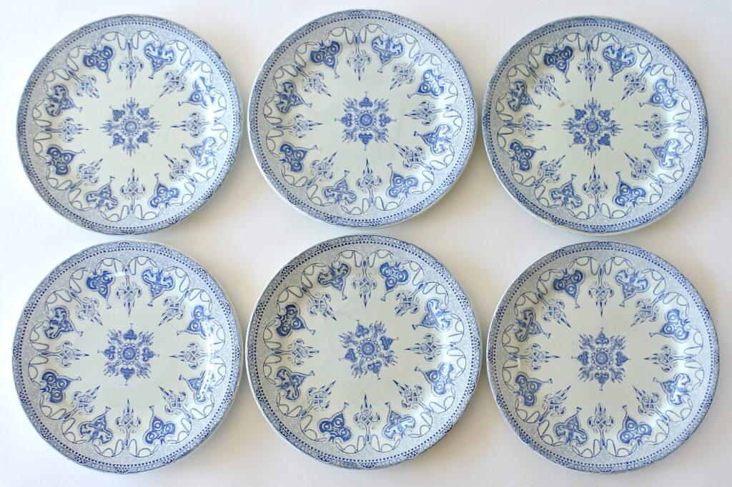 6 piatti in ceramica di Gien del 1860 con decoro azzurro