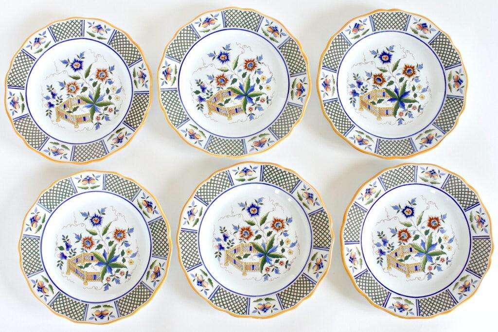 6 piatti piani in ceramica di Sarreguemines Montmorency con fiori