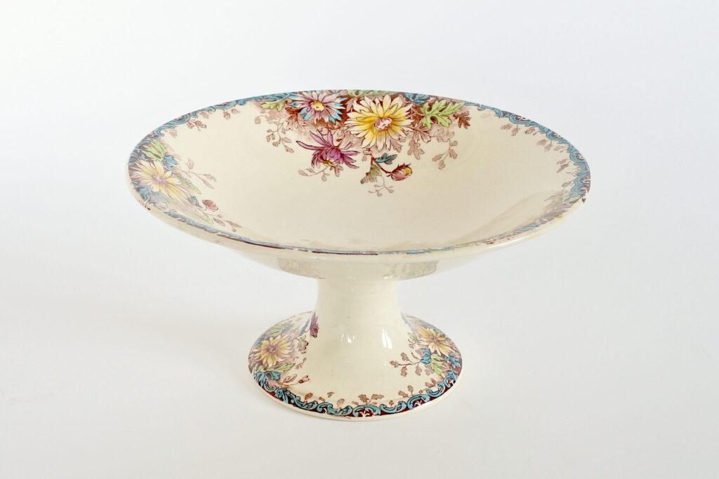 Alzata centrotavola in ceramica di Gien del 1878 con decoro fiori d'autunno