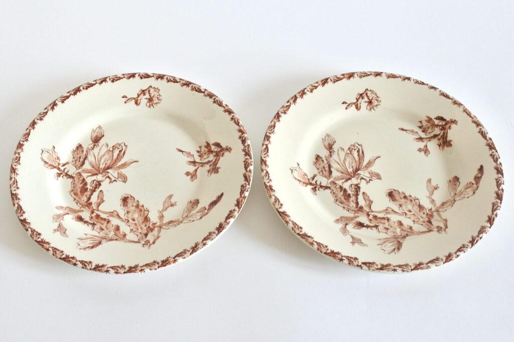 Coppia di piatti piani in ceramica di Gien del 1878 con decoro cactus