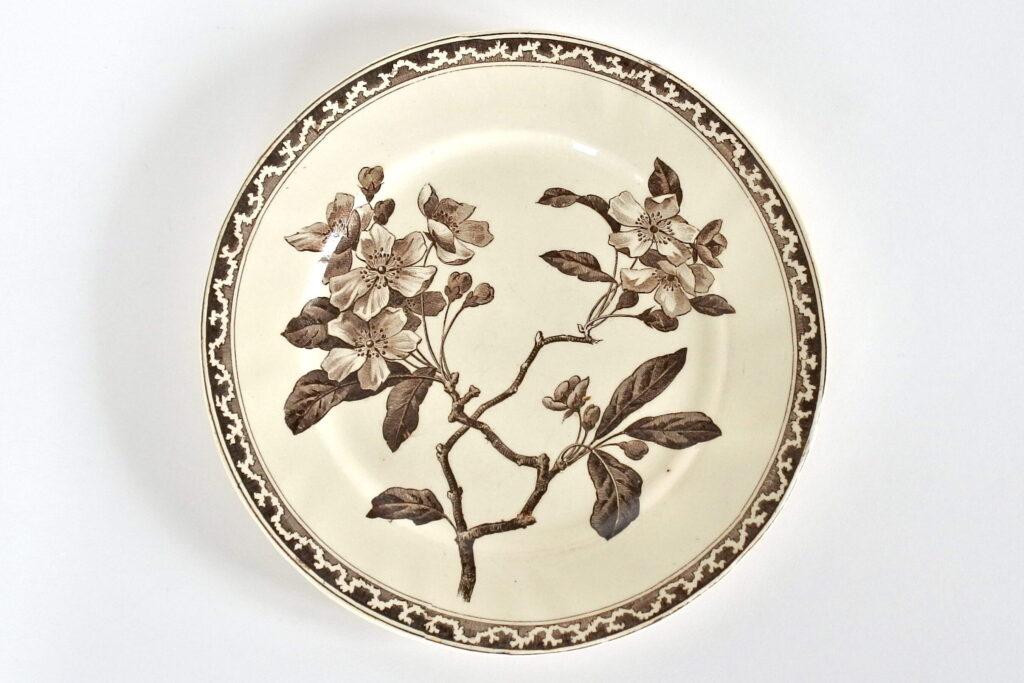 Piatto in ceramica di Creil et Montereau con ramo fiorito su fondo avorio