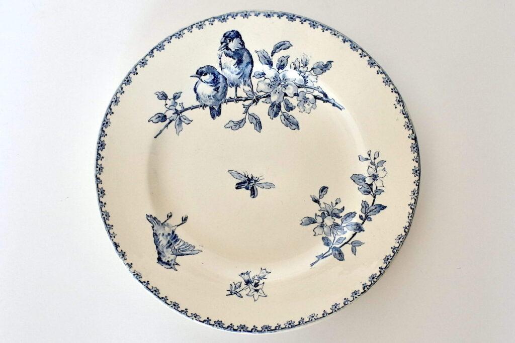 Piatto di servizio in ceramica di Sarreguemines decoro Favori con uccelli e fiori
