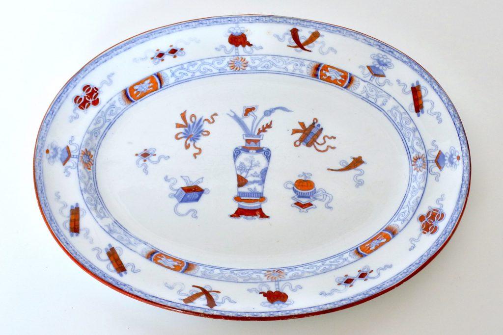 Piatto ovale di servizio in porcellana di Minton decorato a cineseria