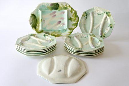 Servizio per asparagi in ceramica barbotine Saint Clement Keller et Guerin